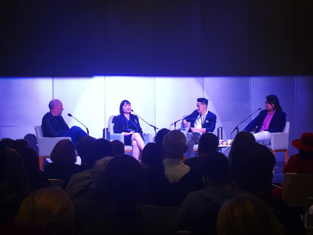 On stage with Benjamin Law, Kevin Kwan and John Birmingham at Brisbane Writers Festival.